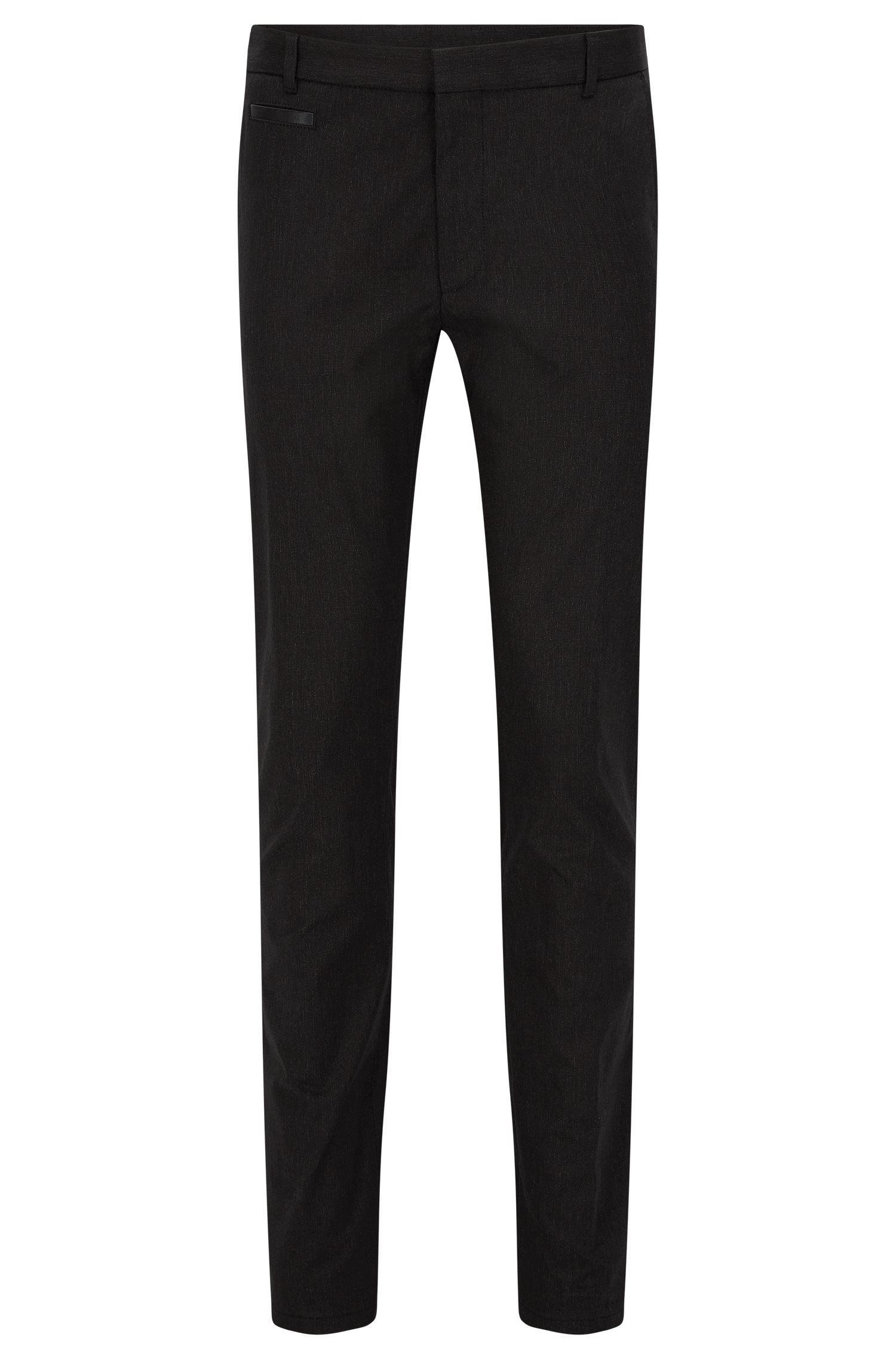 Pantaloni extra slim fit in misto cotone con passamano in pelle