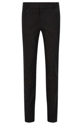 Pantaloni extra slim fit in misto cotone con passamano in pelle, Nero