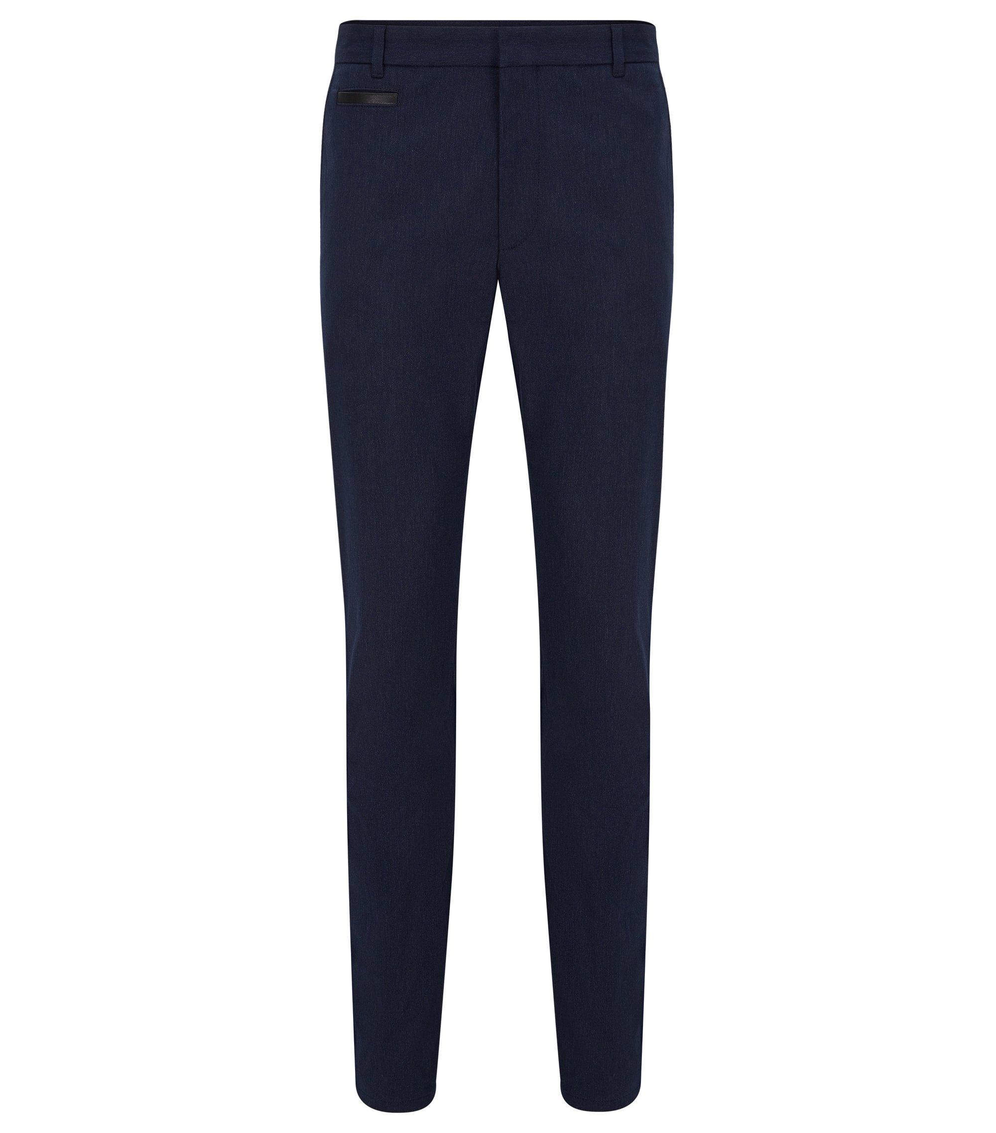 Pantalón extra slim fit en mezcla de algodón con ribete en piel, Azul oscuro