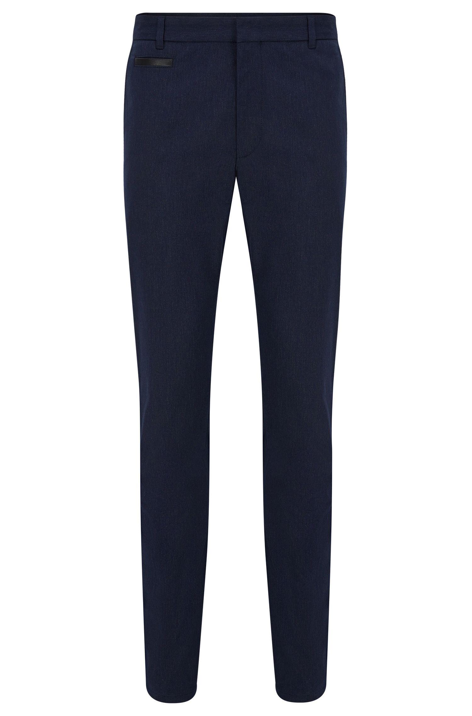 Pantalón extra slim fit en mezcla de algodón con ribete en piel
