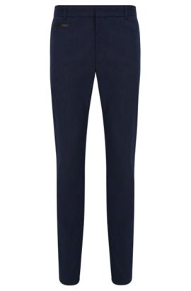 Extra-slim-fit trousers in cotton blend with leather piping detail, Dark Blue
