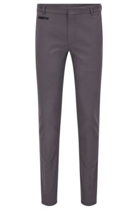 Extra Slim-Fit Hose aus zweifarbigem Baumwoll-Mix, Grau