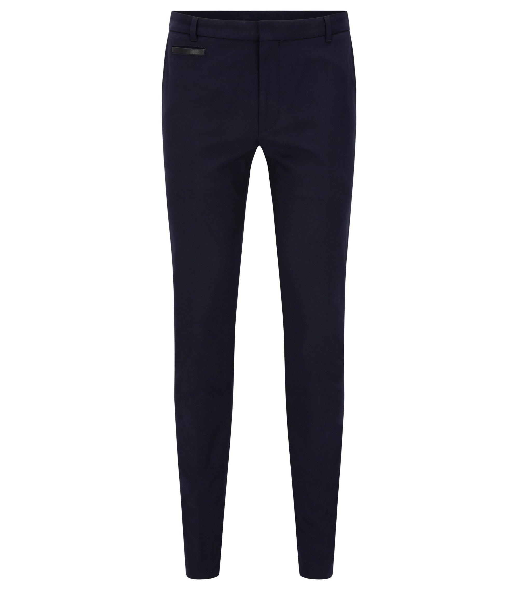 Extra Slim-Fit Hose aus zweifarbigem Baumwoll-Mix, Dunkelblau