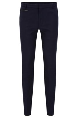 Extra-slim-fit trousers in two-tone fabric, Dark Blue