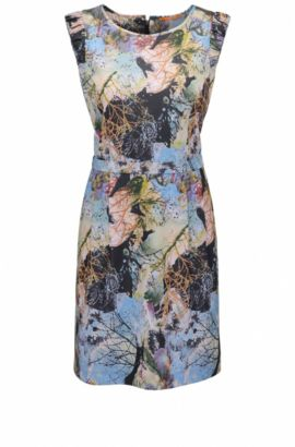 Waisted dress in printed fabric, Patterned