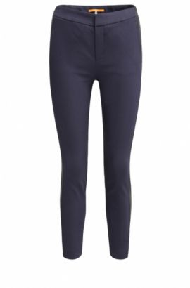 Slim-fit trousers in a cotton blend, Dark Blue