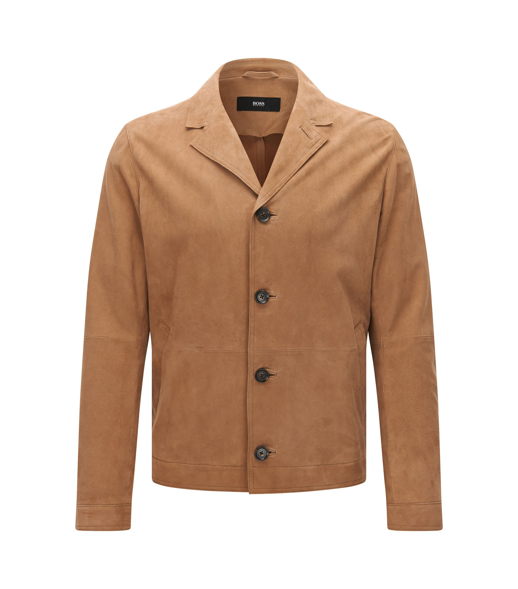 Regular-fit jas van suède met notch-reverskraag, Beige