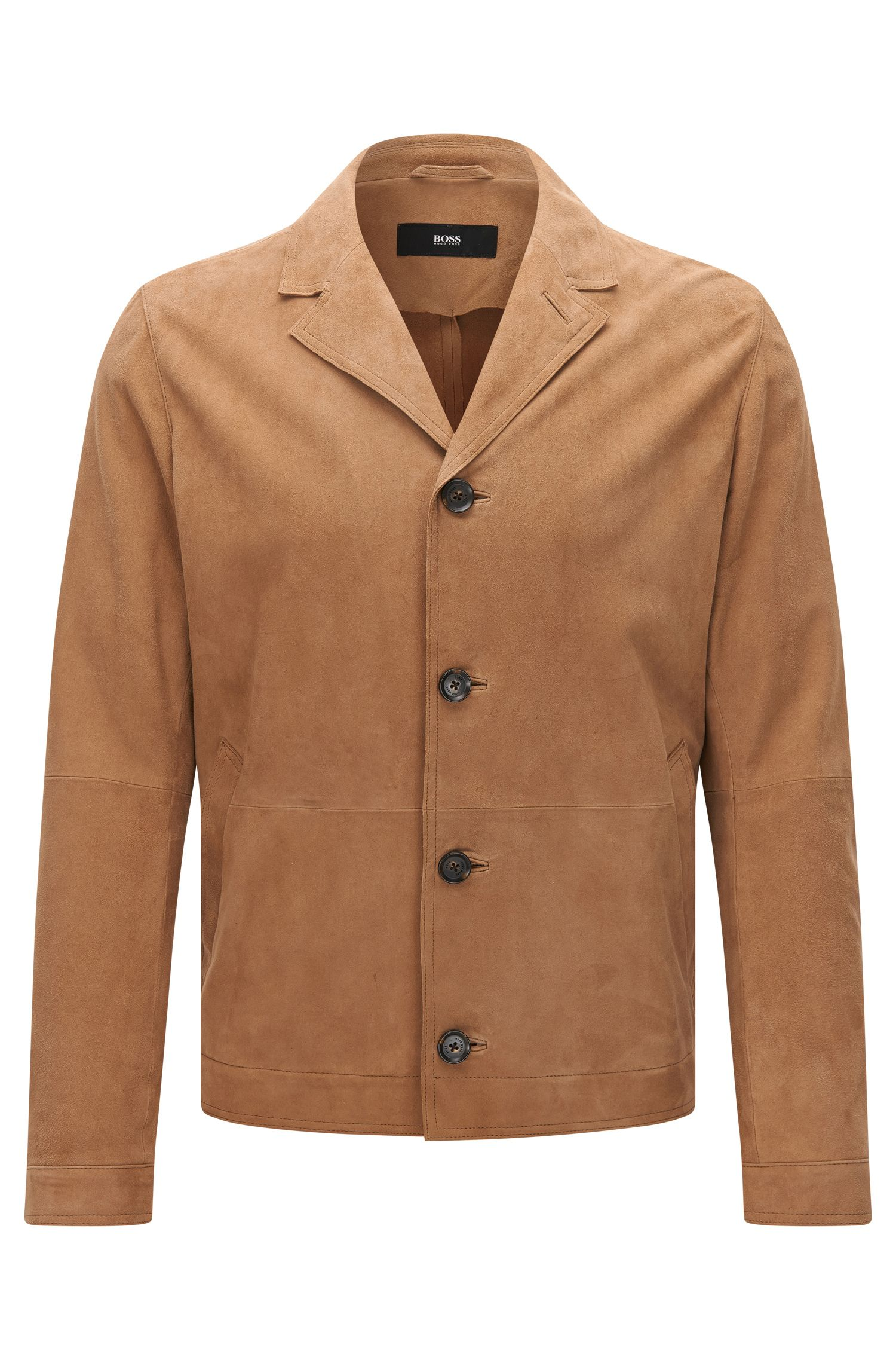 Regular-fit suede jacket with notch lapel collar