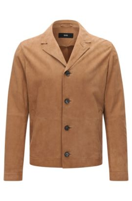 Veste en daim Regular Fit à revers cranté, Beige