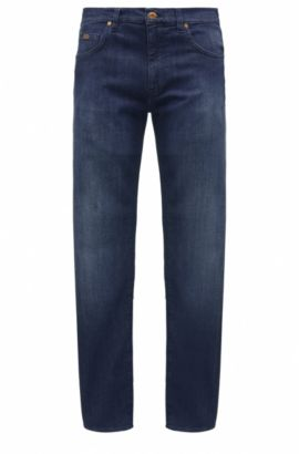 Regular-fit jeans in comfort-stretch denim, Dark Blue