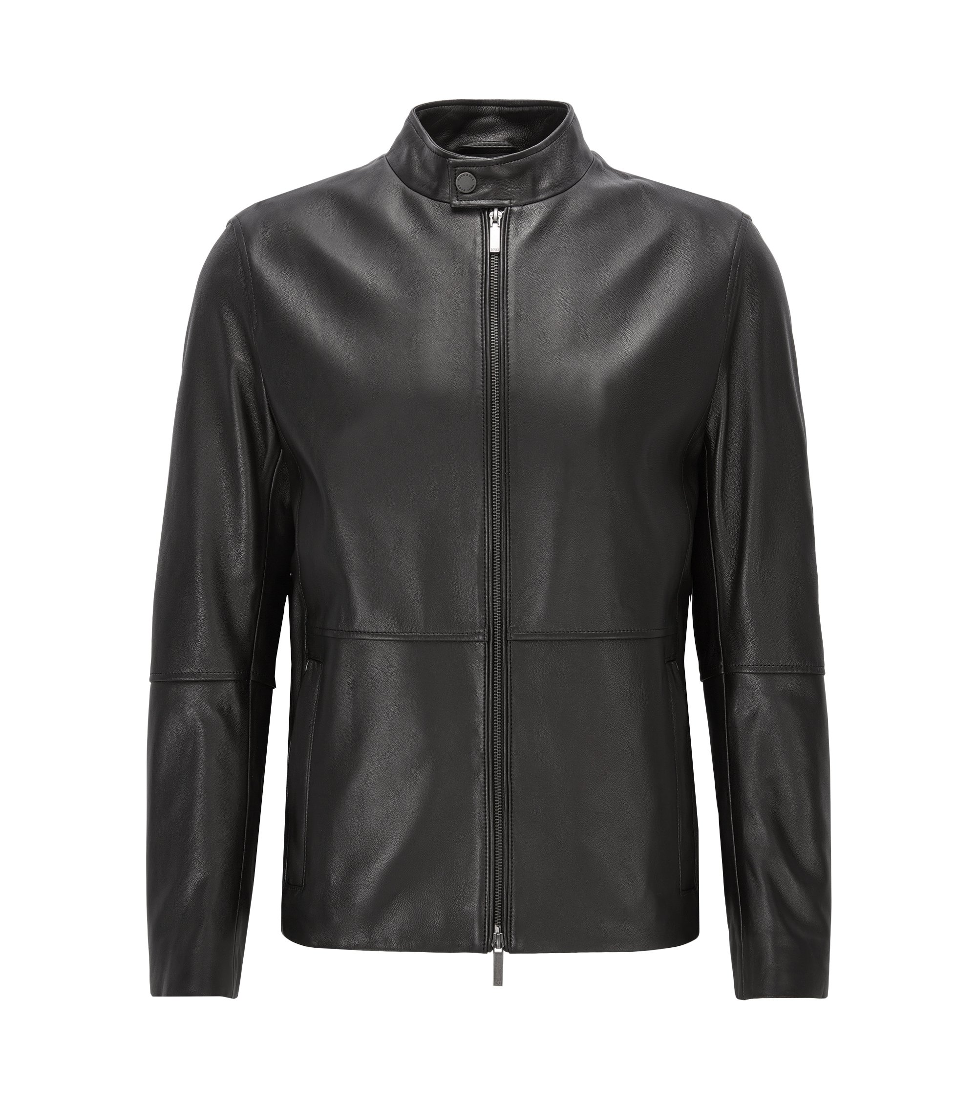 Slim-fit jacket in soft grained nappa leather, Black