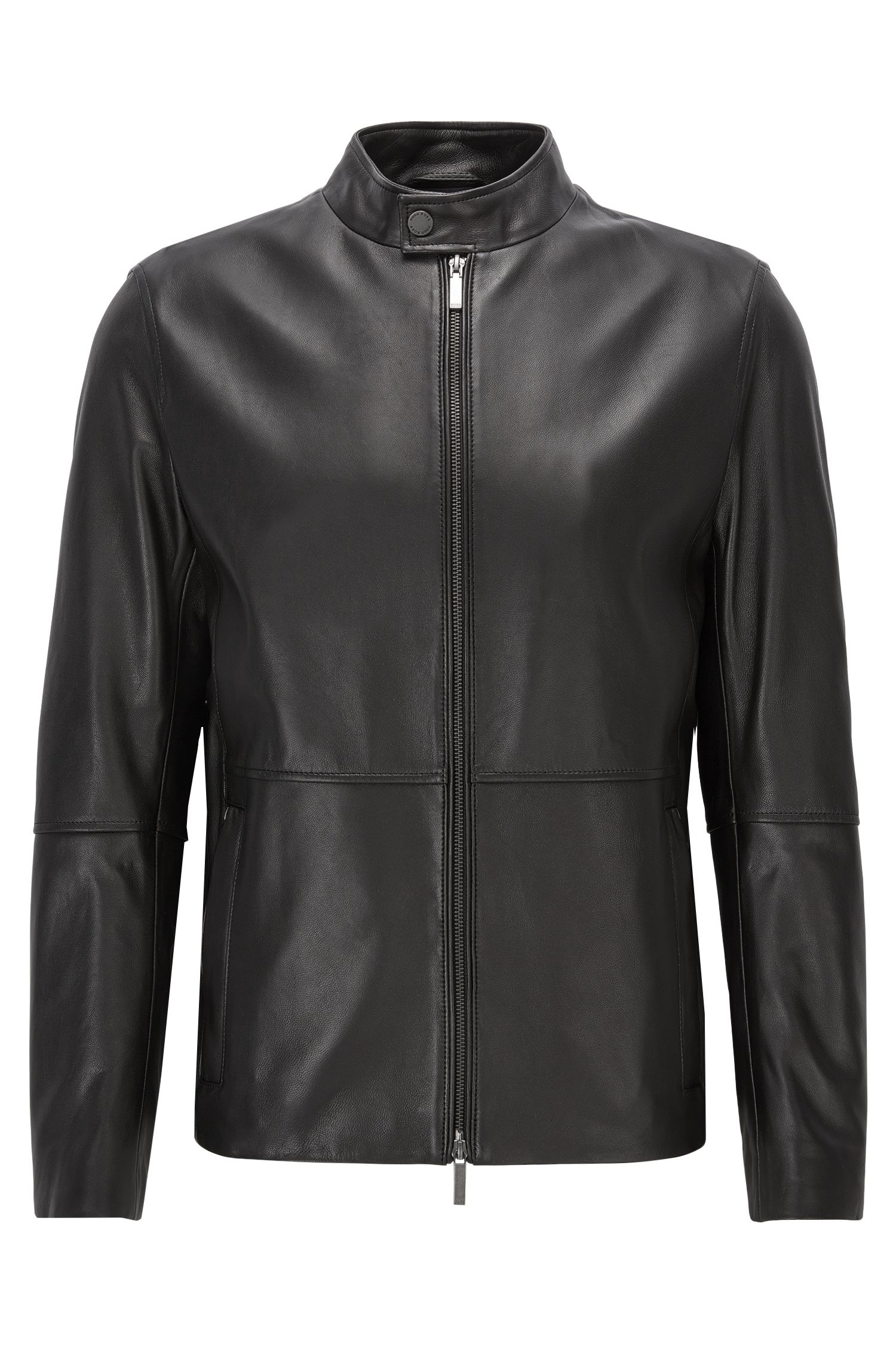 Slim-fit jacket in soft grained nappa leather