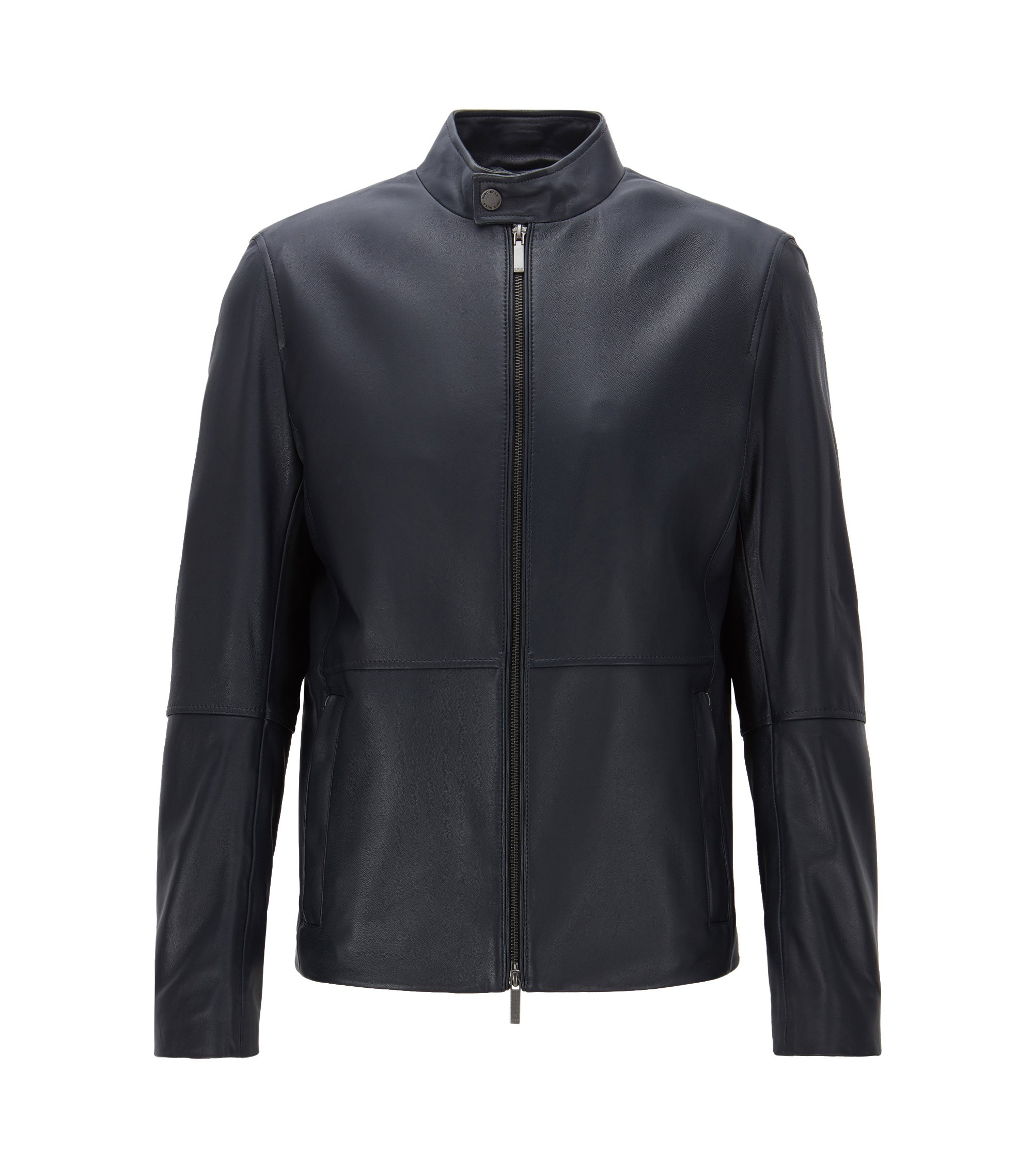 Slim-fit jacket in soft grained nappa leather, Dark Blue