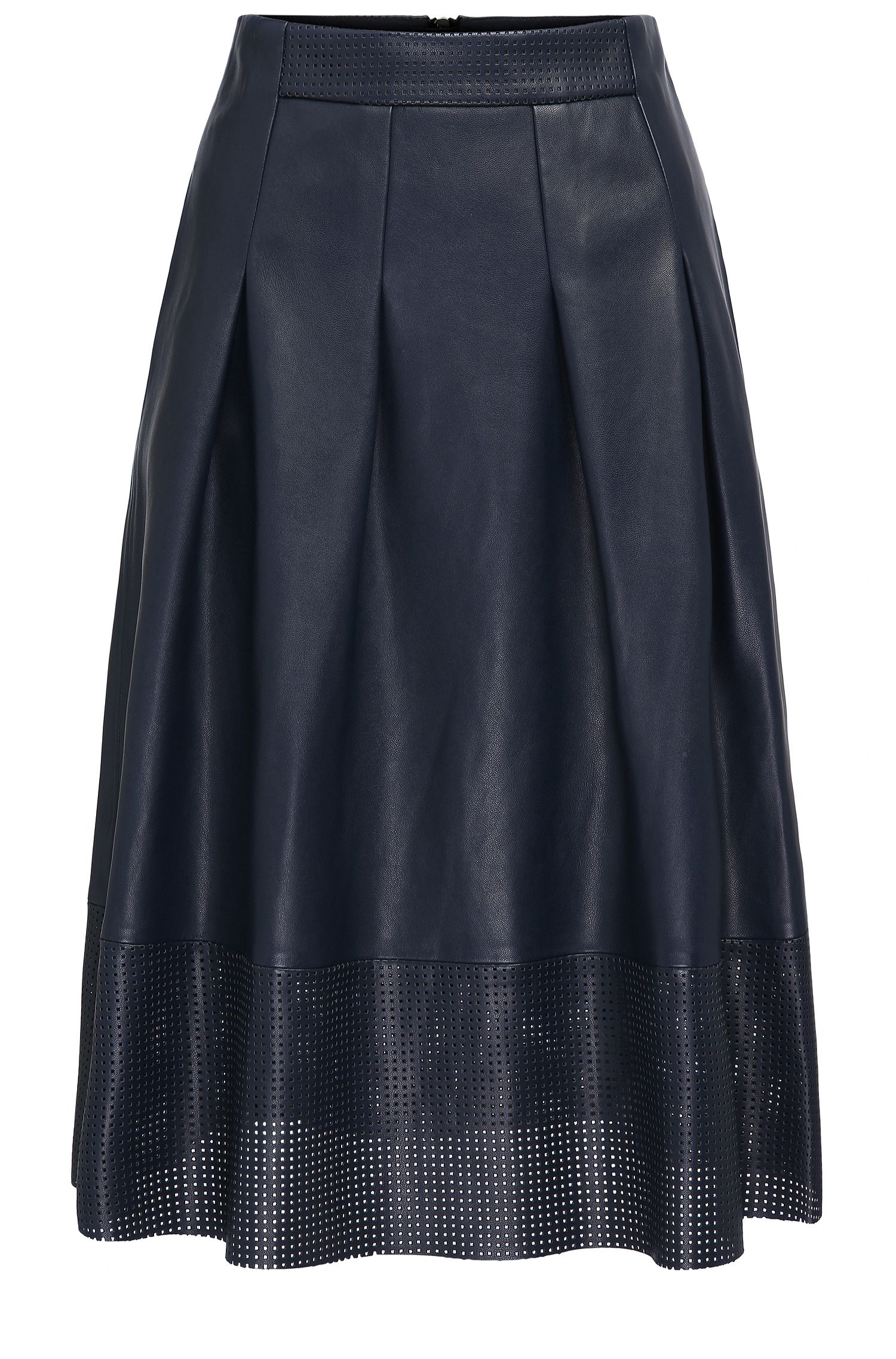 A-line faux leather midi skirt with perforated detail