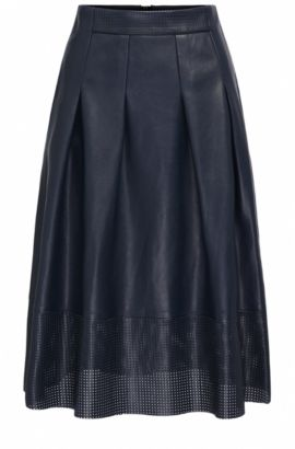 A-line faux leather midi skirt with perforated detail, Dark Blue