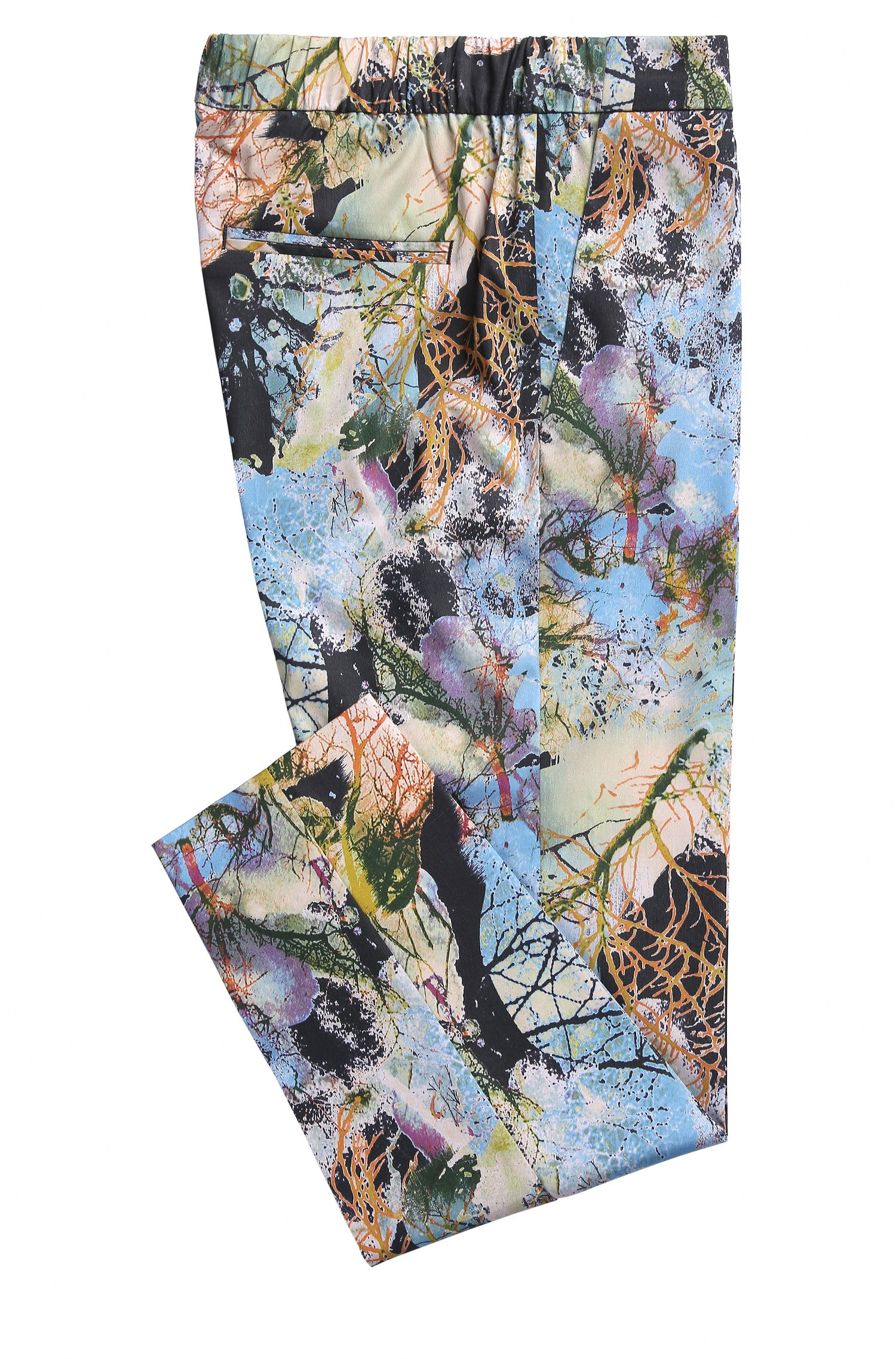 Relaxed-fit trousers in nature-inspired print
