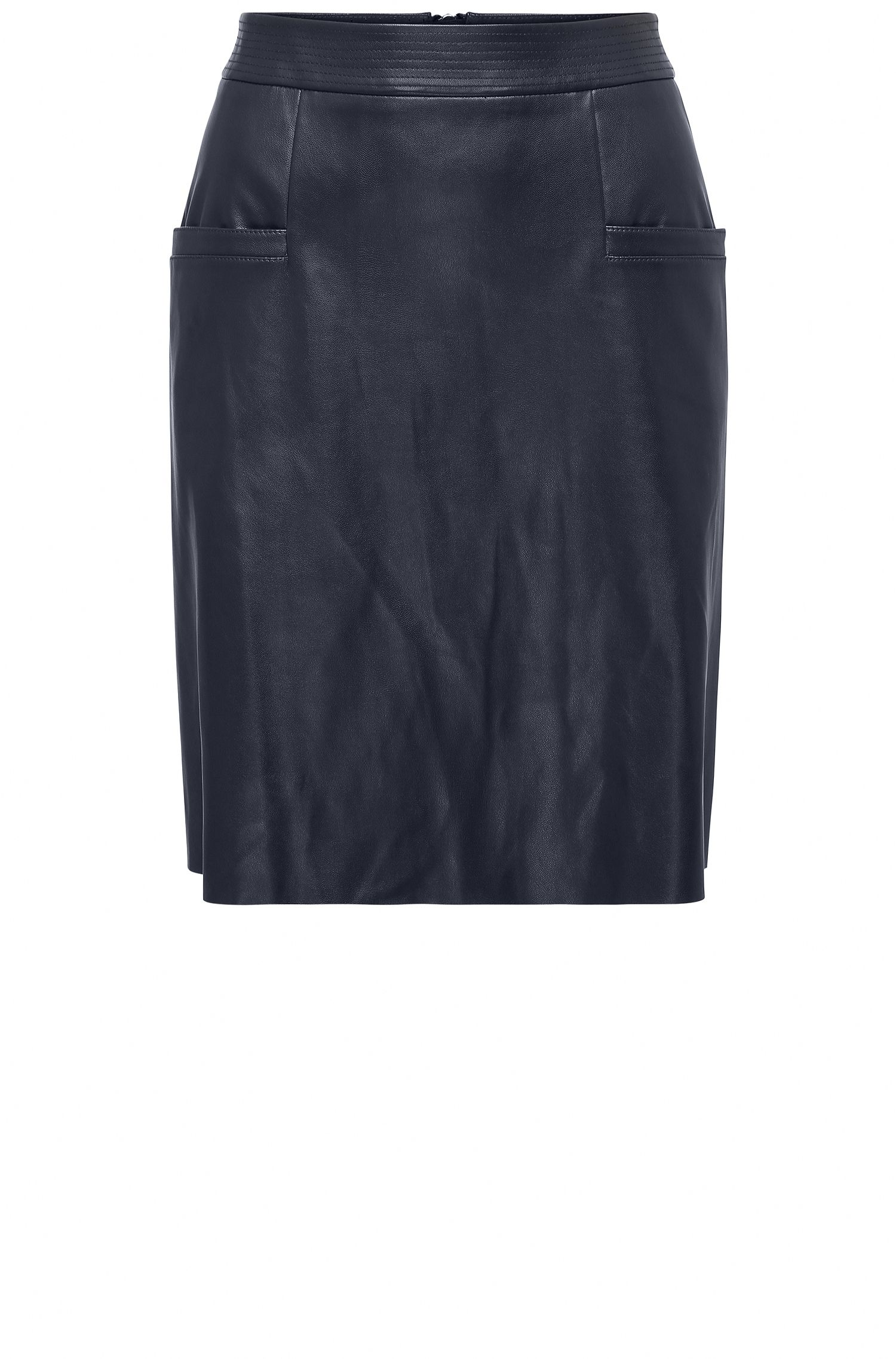 Regular-fit A-line skirt in faux leather
