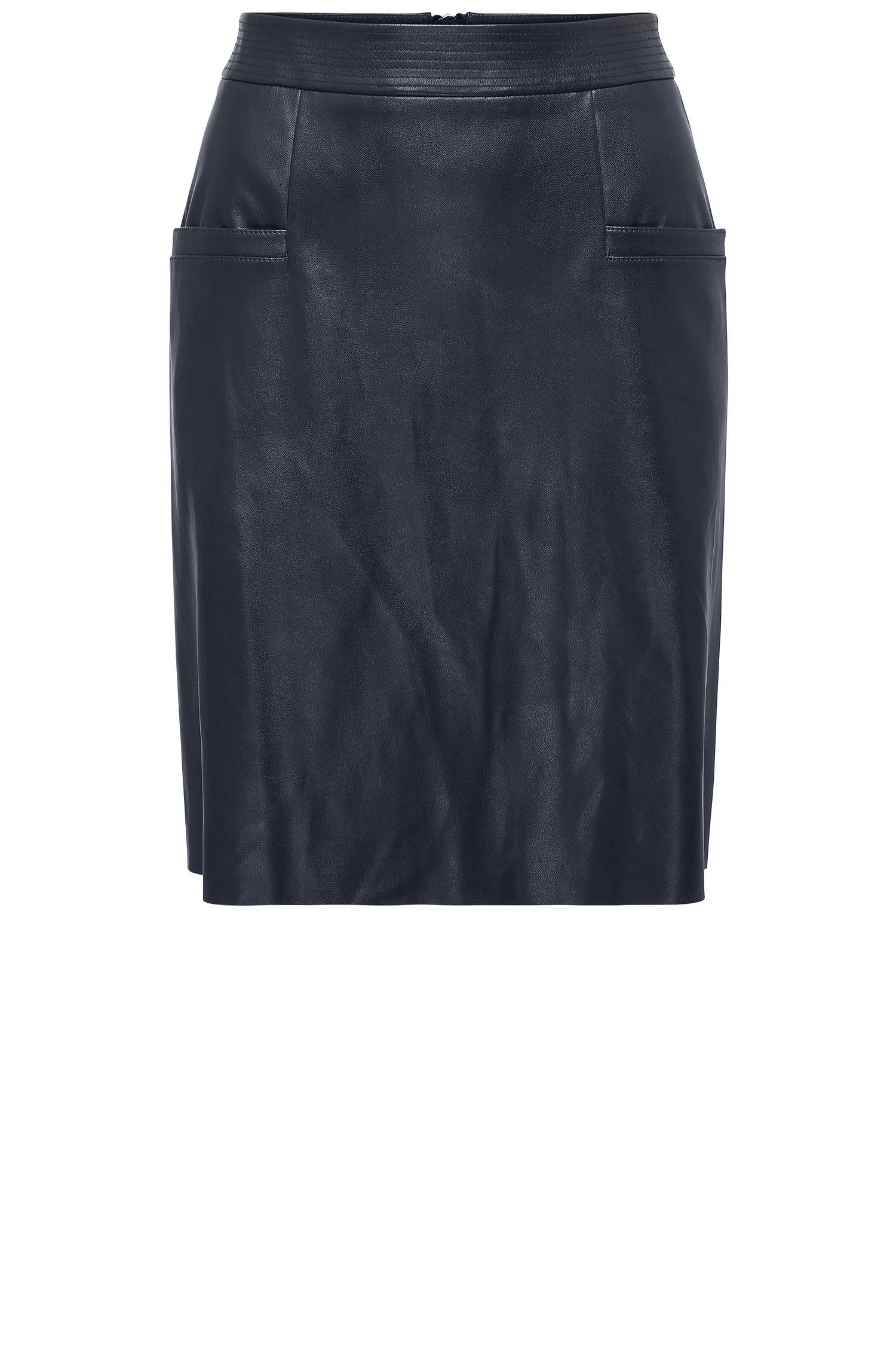 Regular-fit rok van imitatieleer in A-lijn