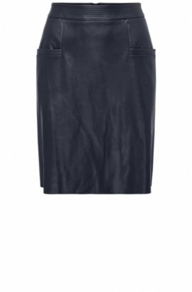 Regular-fit A-line skirt in faux leather, Dark Blue
