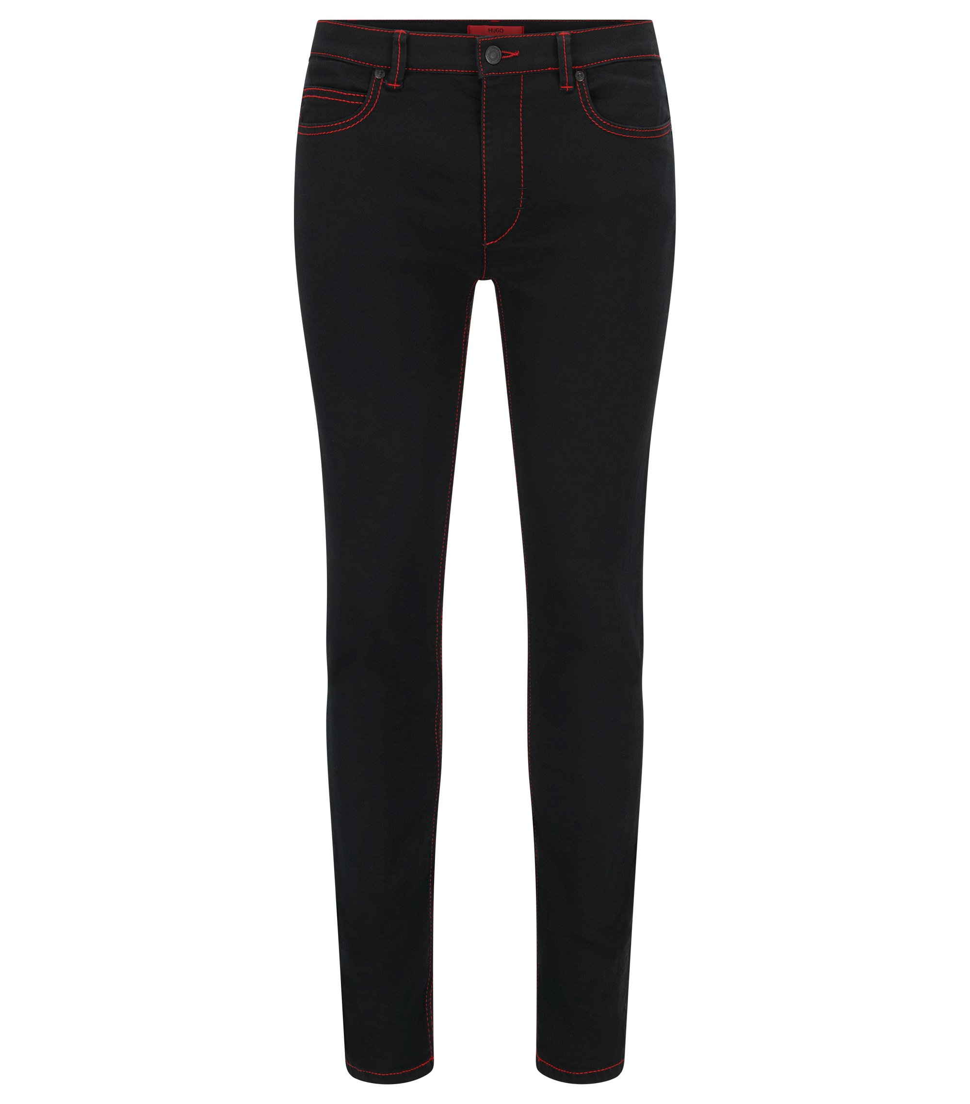 Skinny-fit jeans with red stitching , Black