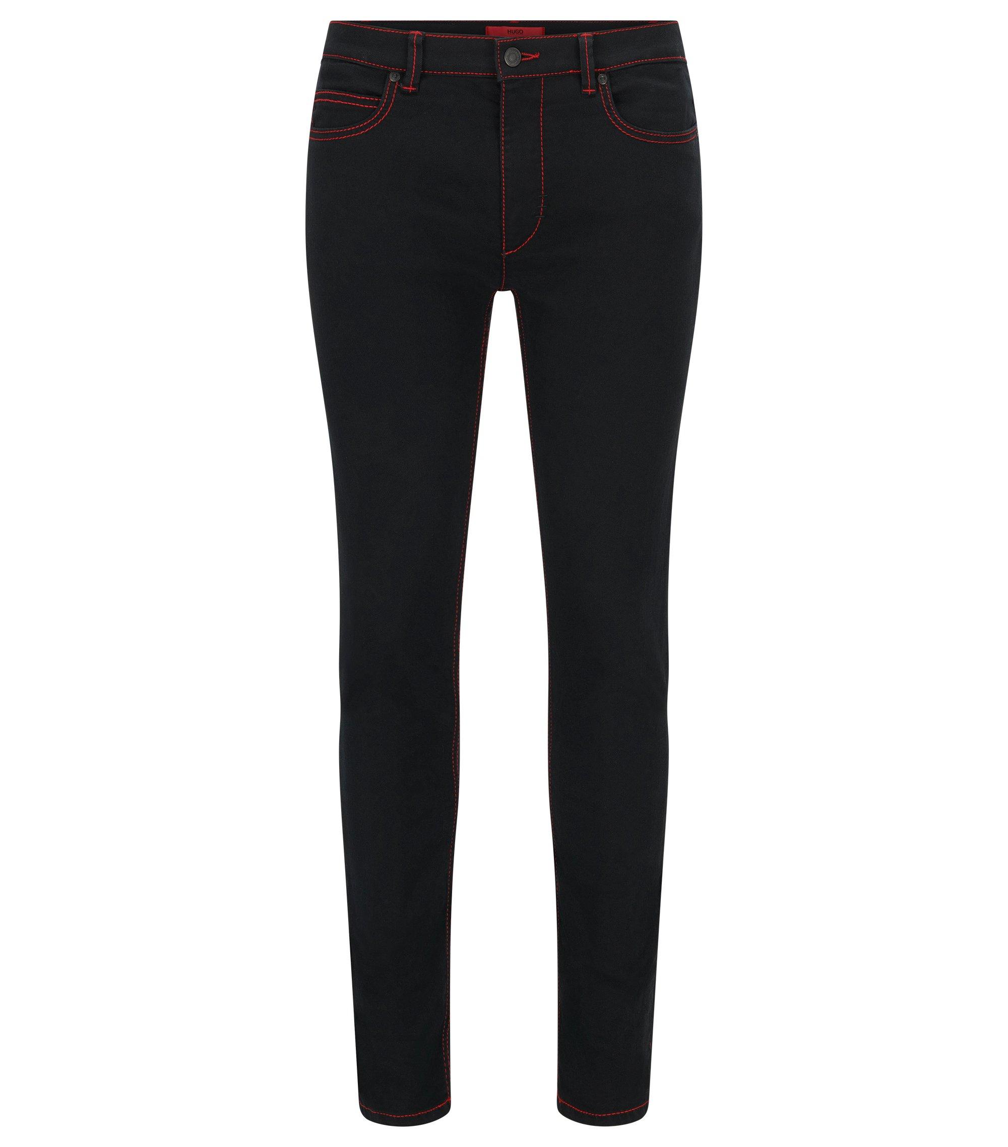 Jeans Skinny Fit à surpiqûres rouges , Noir