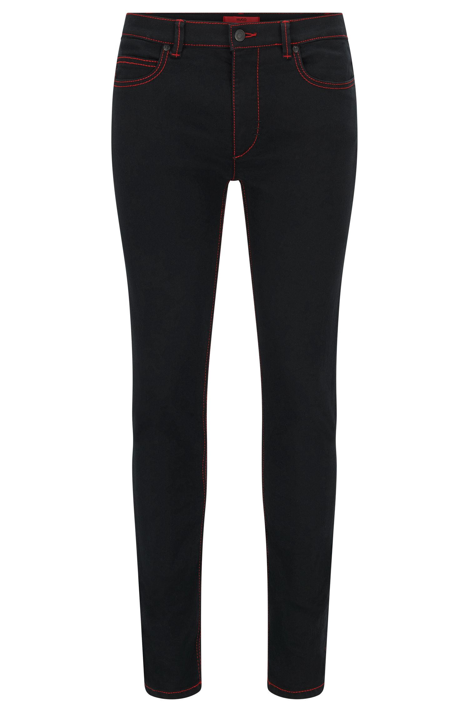 Skinny-fit jeans with red stitching