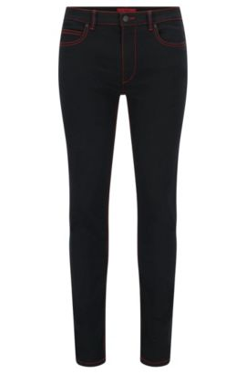 Jeans Skinny Fit à surpiqûres rouges , Noir