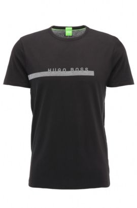 T-shirt regular fit in morbido cotone con logo, Nero