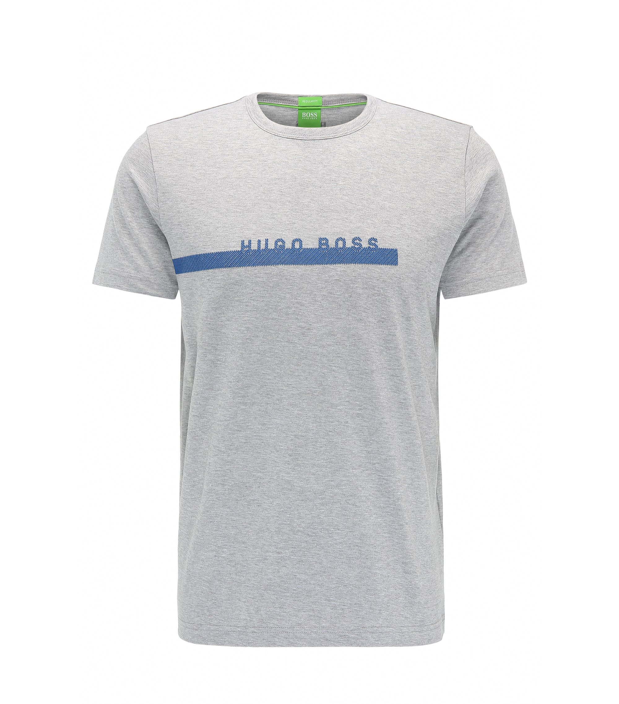 Regular-fit logo T-shirt in soft cotton, Light Grey