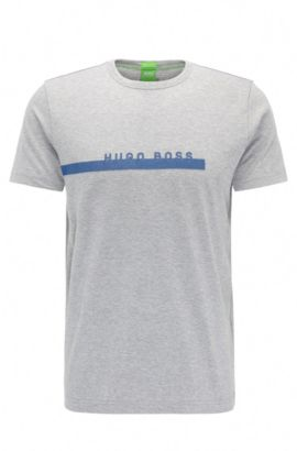 T-shirt Regular Fit en coton doux avec logo, Gris chiné
