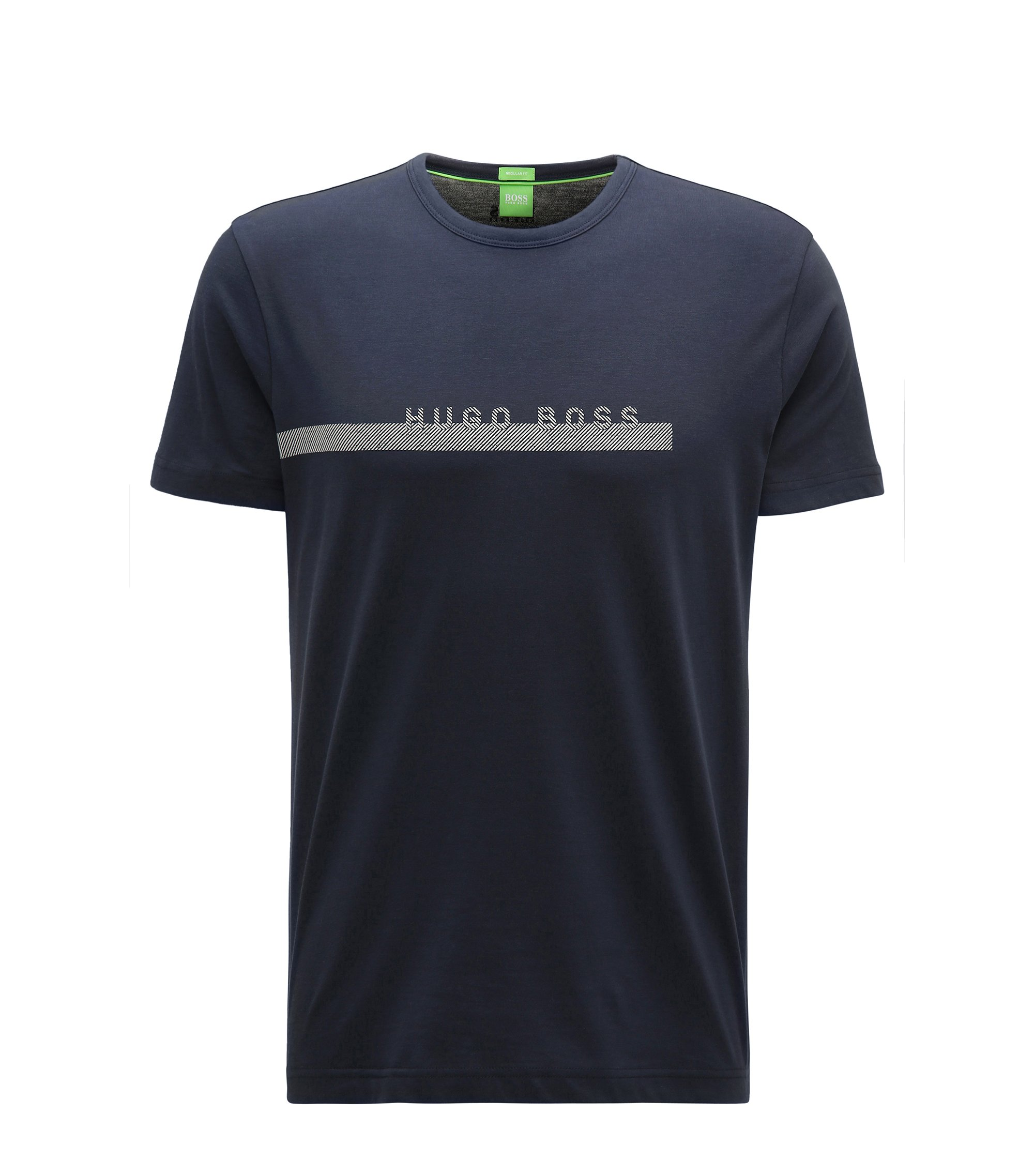 T-shirt regular fit in morbido cotone con logo, Blu scuro