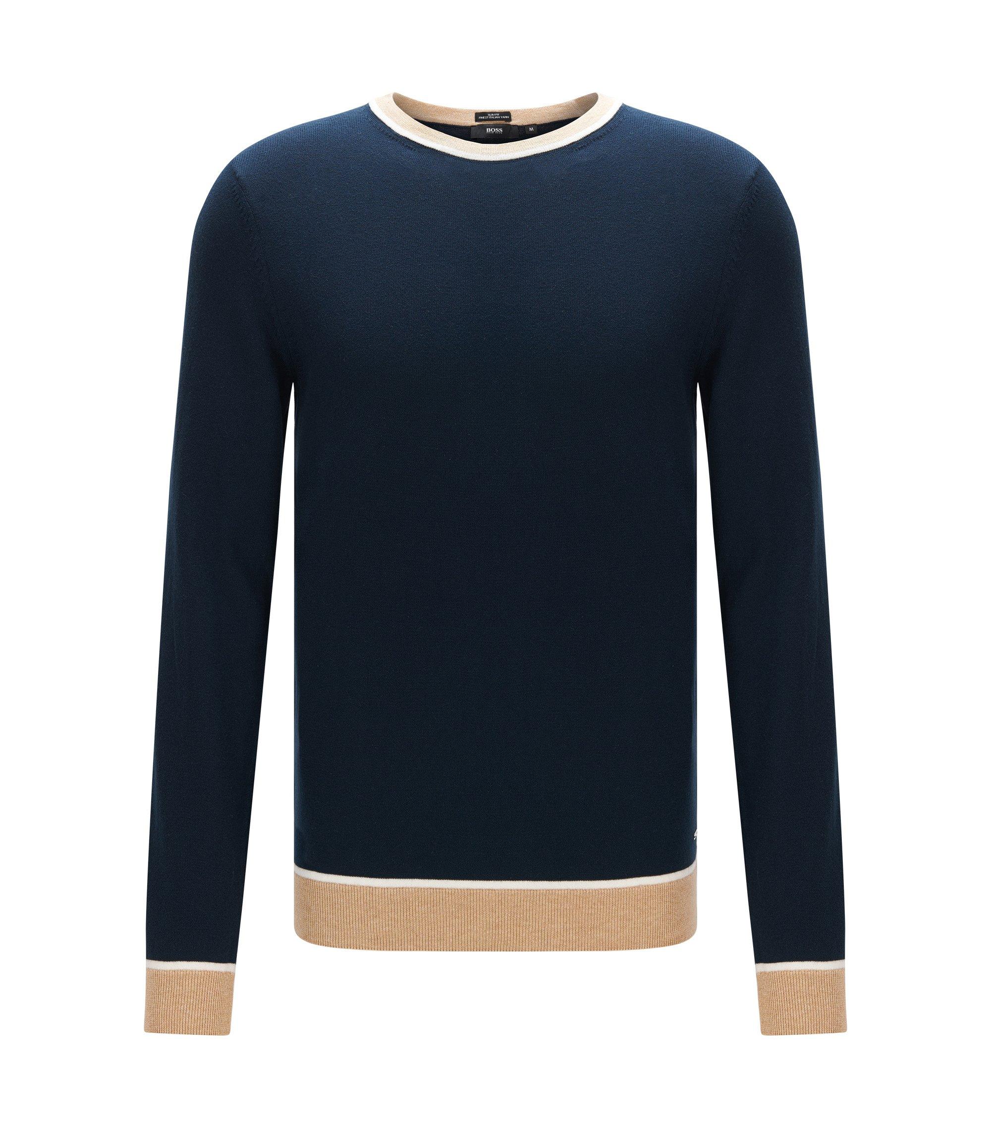 Slim-Fit Pullover aus Baumwolle mit Colour Block-Details, Dunkelblau