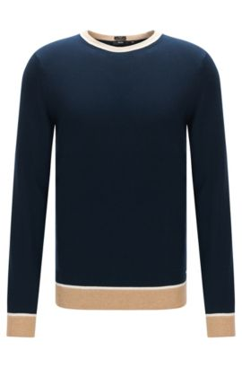 Slim-fit cotton sweater with colourblock details, Dark Blue