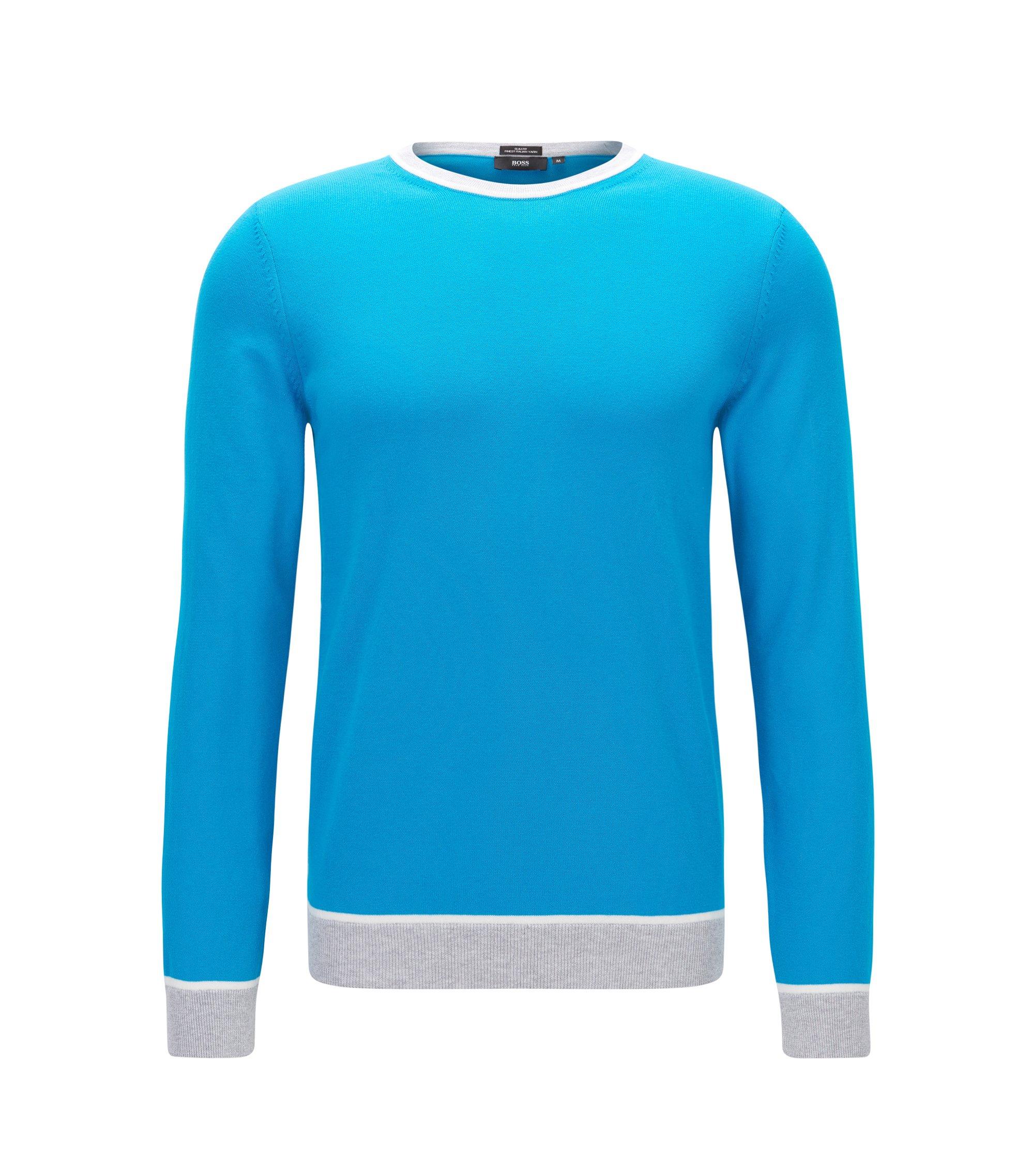 Slim-Fit Pullover aus Baumwolle mit Colour Block-Details, Hellblau