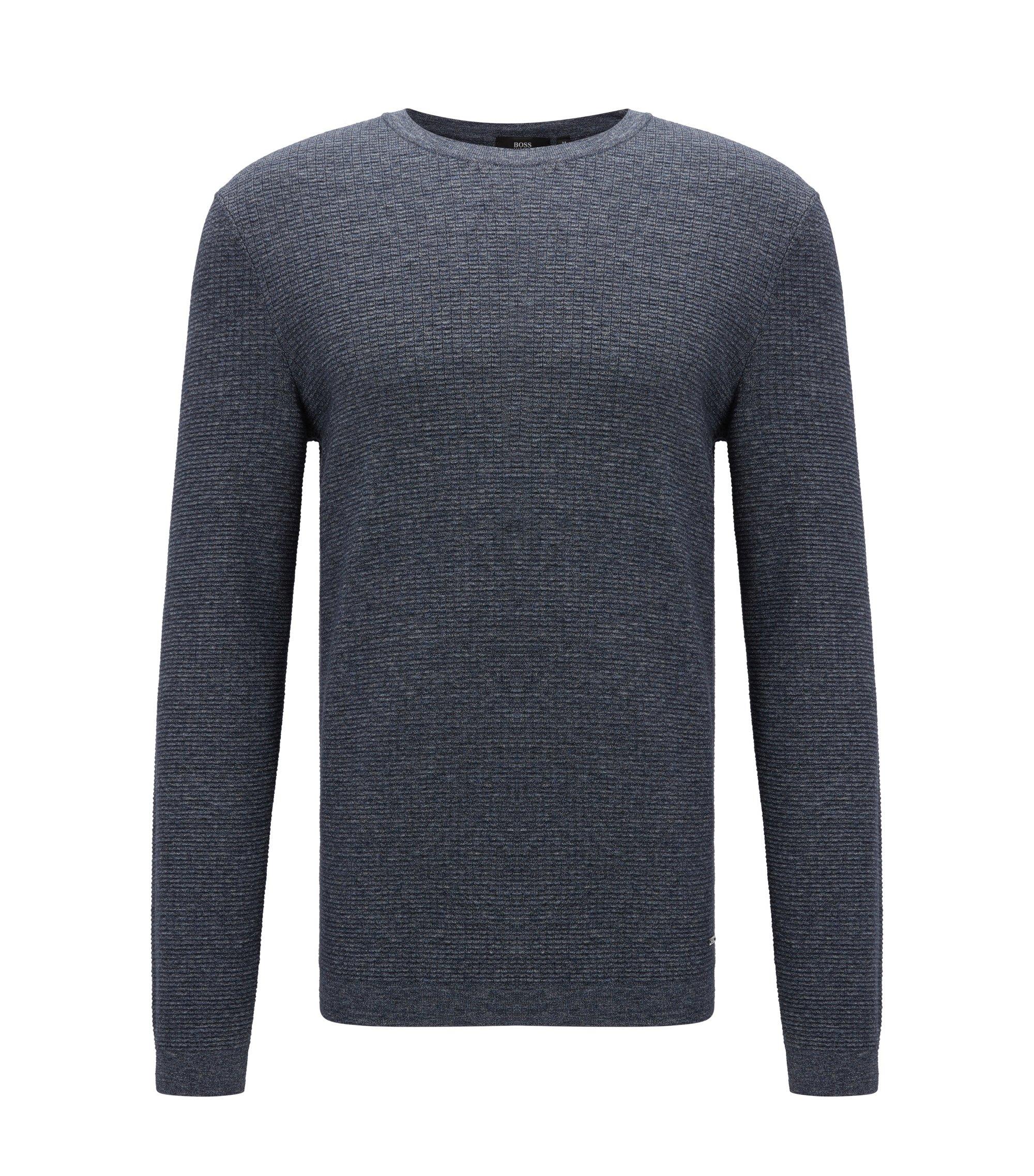 Jersey slim fit en algodón con aspecto de denim, Azul oscuro