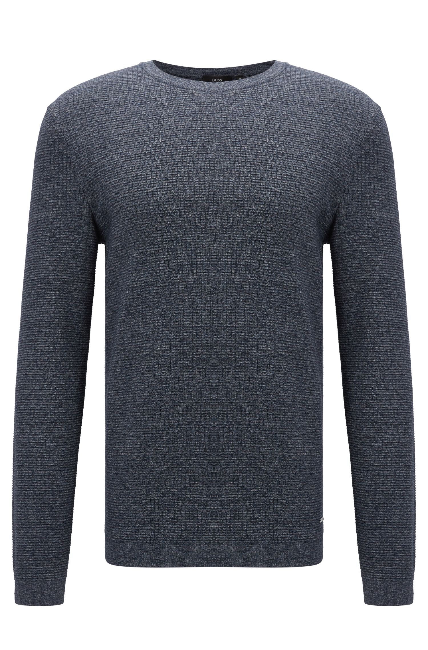Slim-fit sweater in denim-look cotton, Dark Blue