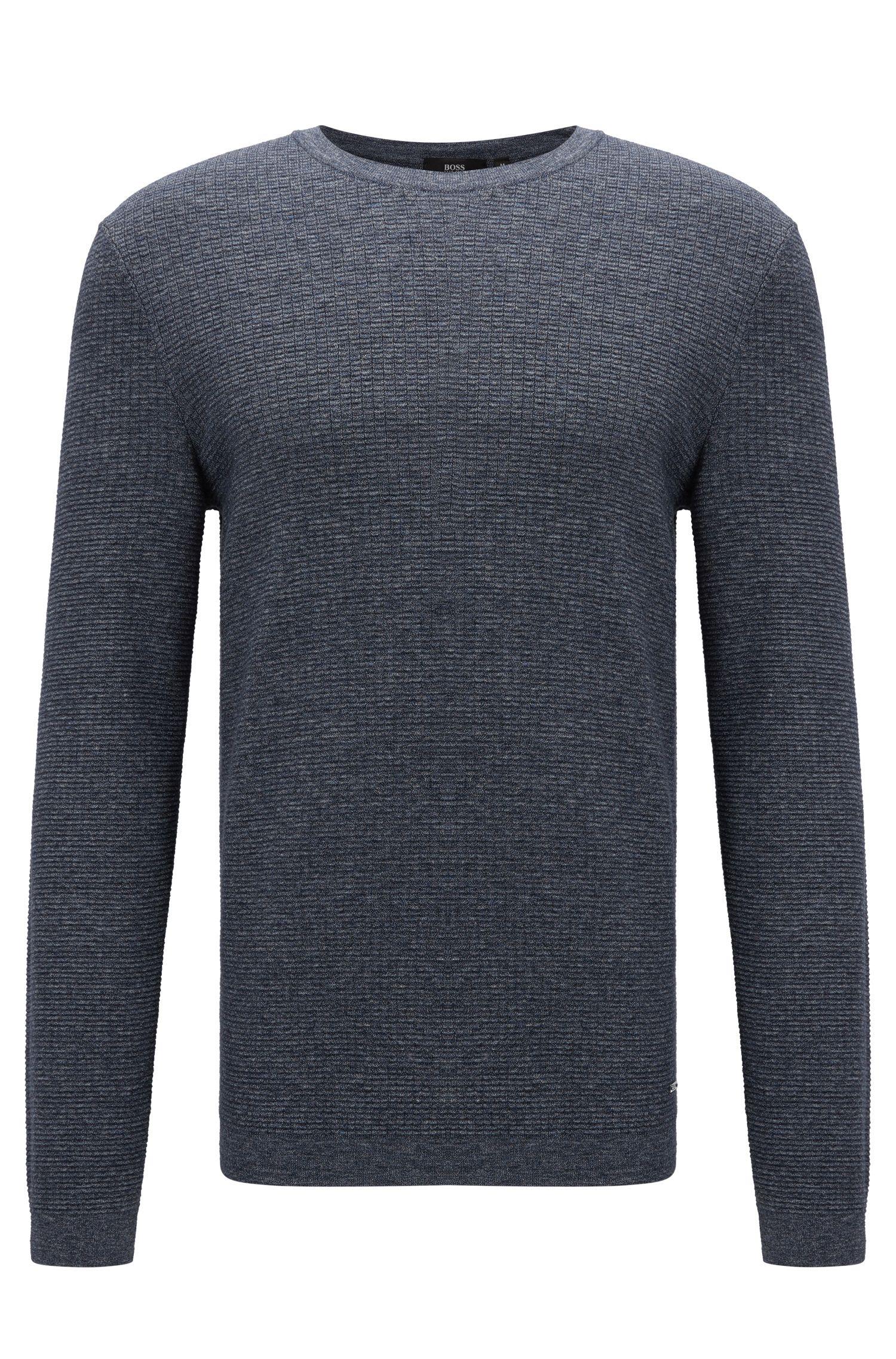 Slim-fit sweater in denim-look cotton