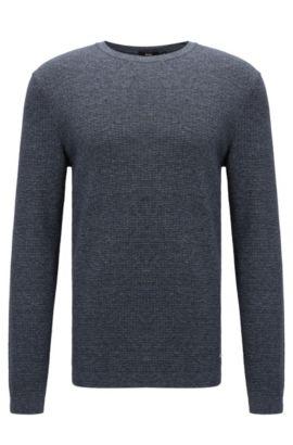Slim-fit sweater in denim-look cotton, Dark Blue