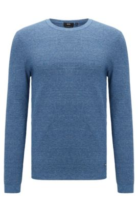 Slim-fit sweater in denim-look cotton, Blue
