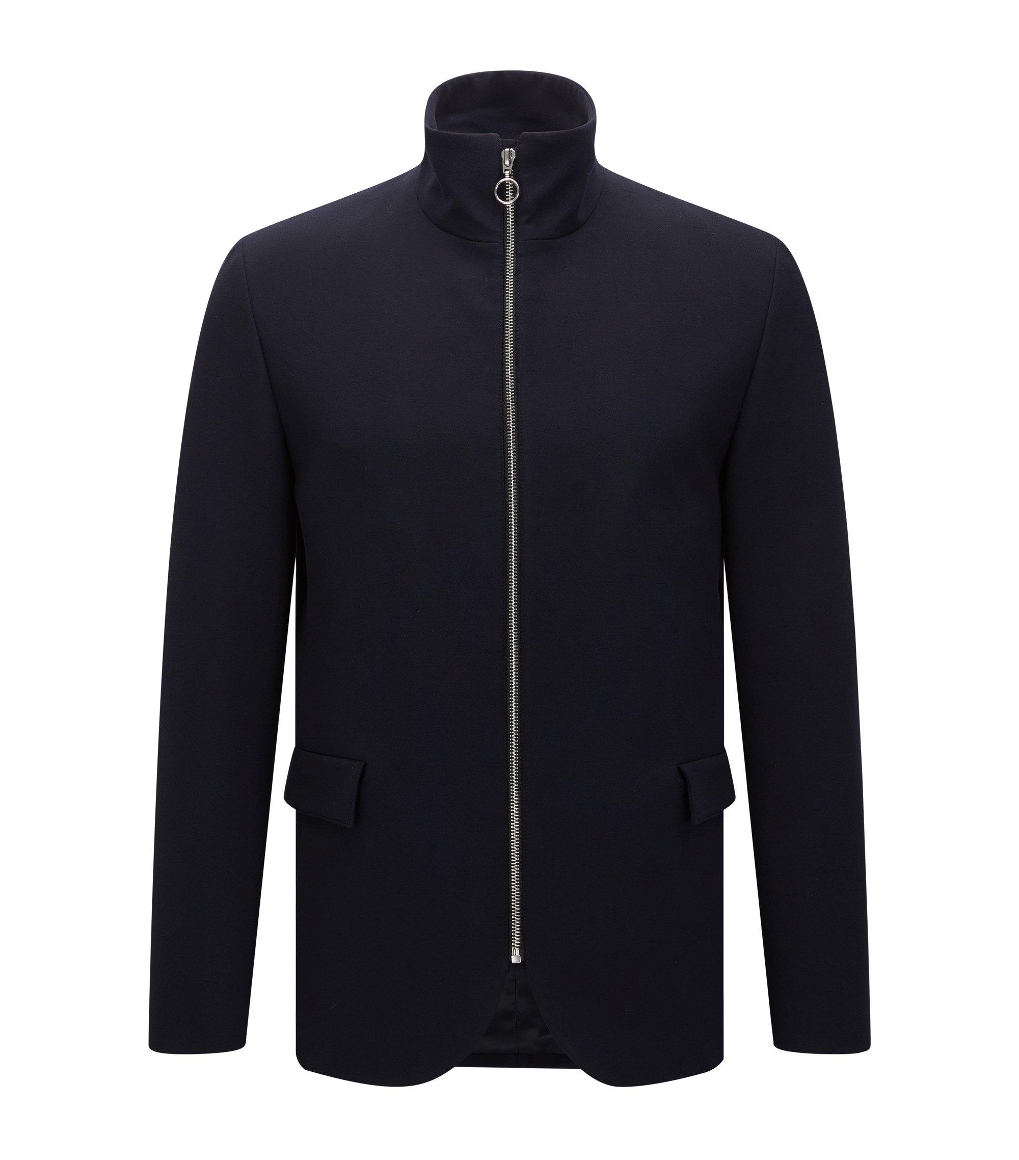 Slim-fit jacket with stand collar, Dark Blue