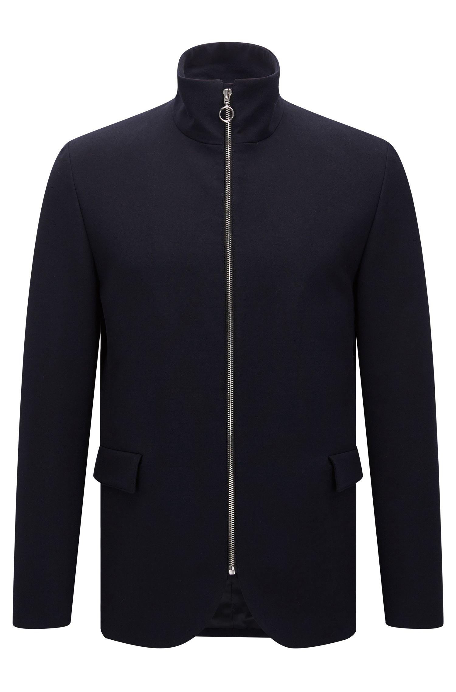 Slim-fit jas met opstaande kraag