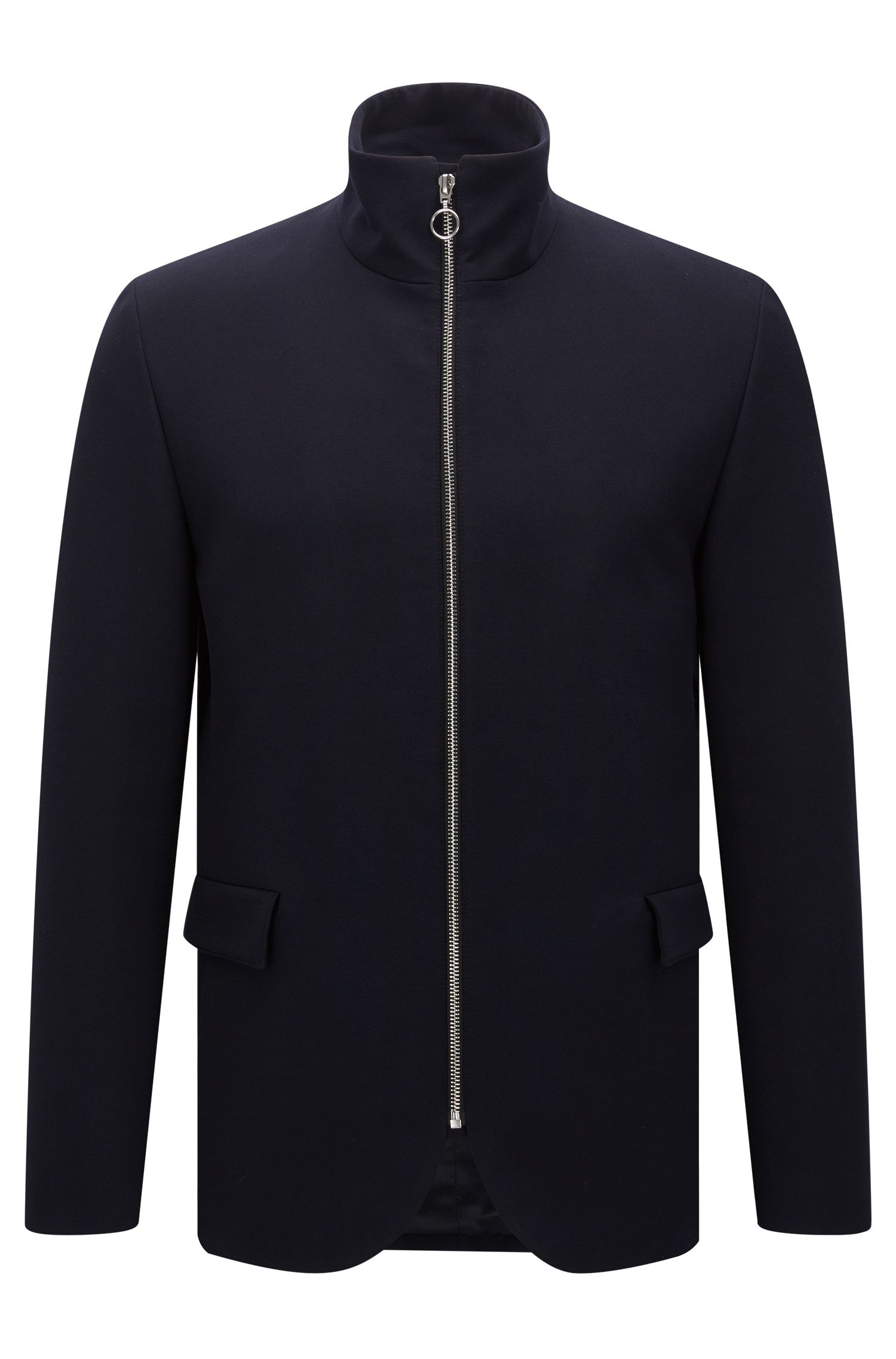 Slim-fit jacket with stand collar