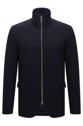 Slim-fit jas met opstaande kraag, Donkerblauw