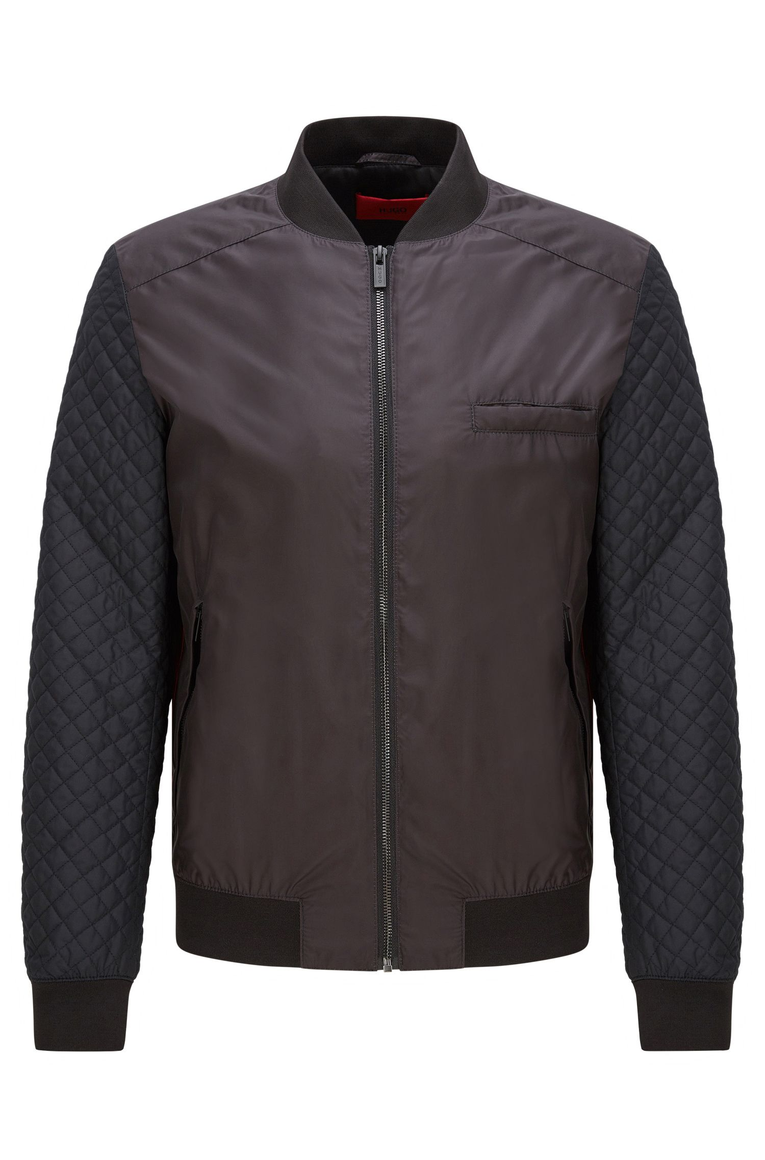 Technical-fabric bomber jacket with quilted sleeves