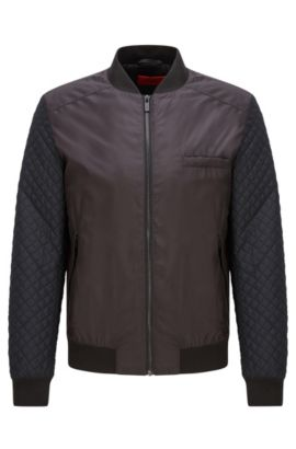 Technical-fabric bomber jacket with quilted sleeves, Black