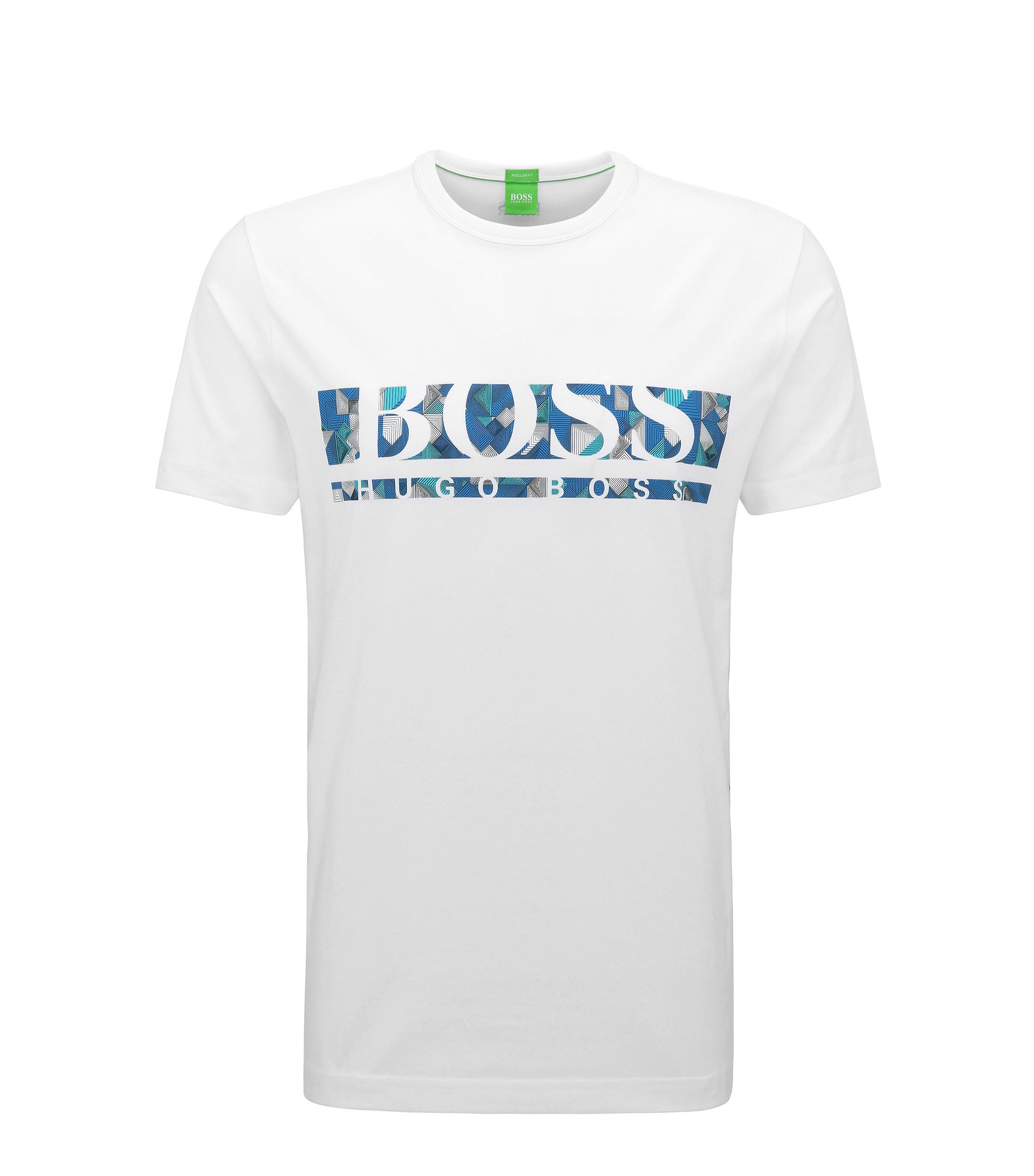 Regular-fit logo T-shirt in stretch cotton, White