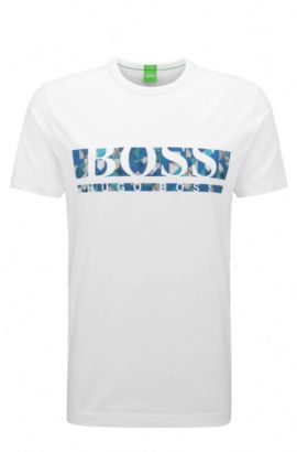 T-shirt Regular Fit en coton stretch avec logo, Blanc