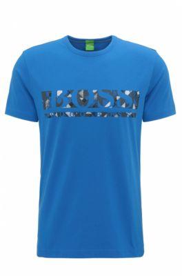 Regular-Fit T-Shirt aus elastischer Baumwolle mit Logo, Blau