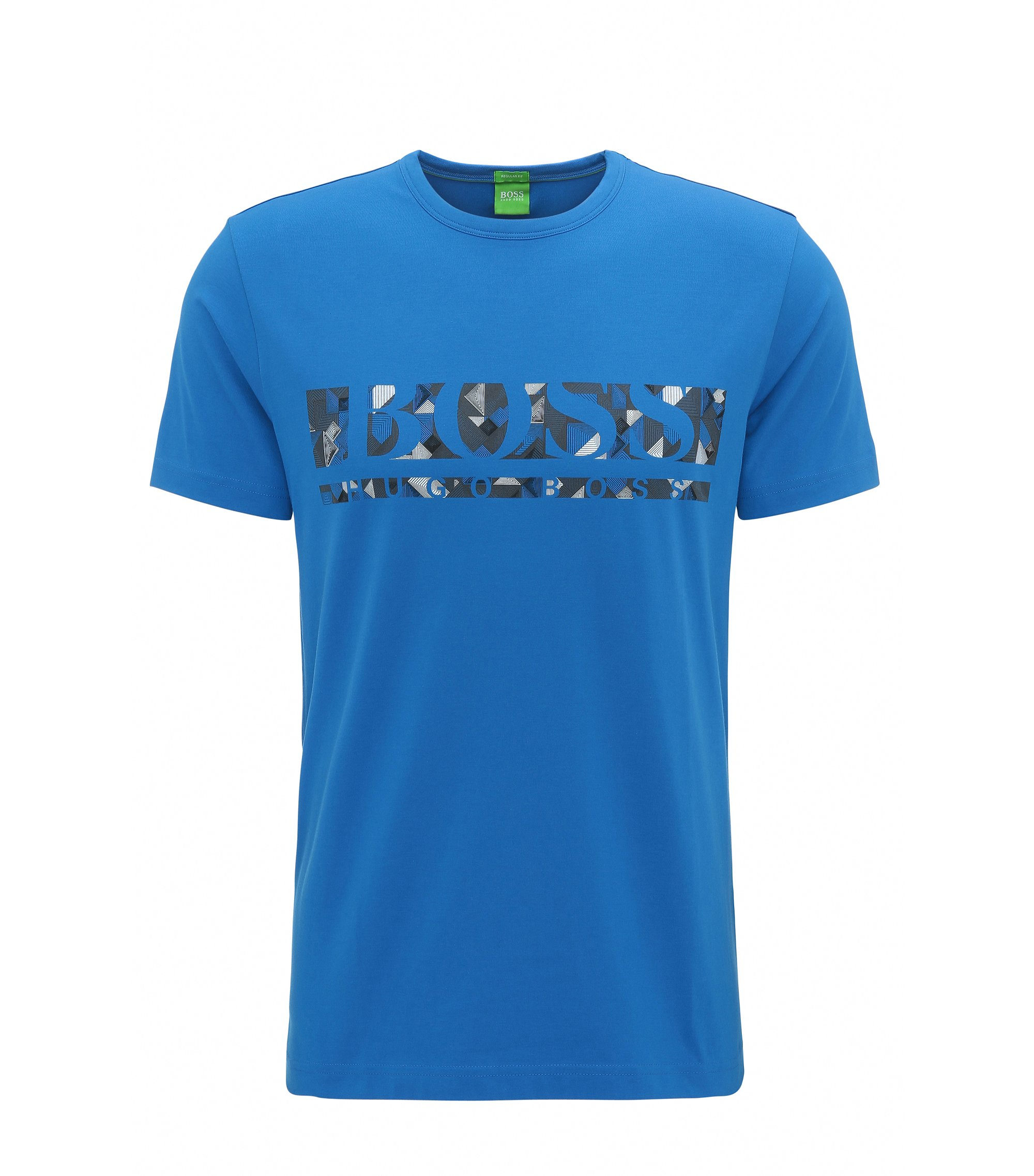 T-shirt Regular Fit en coton stretch avec logo, Bleu