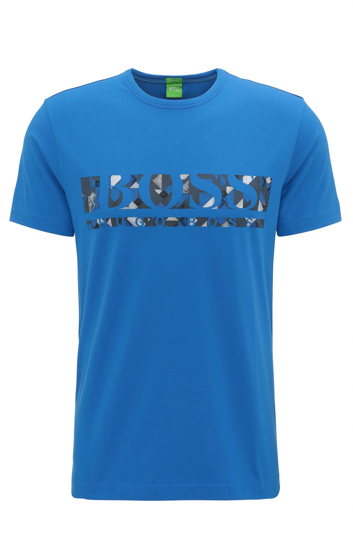 Regular-fit T-shirt van stretchkatoen met logo